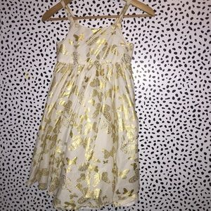 H&M 9-10 gold white butterfly dress